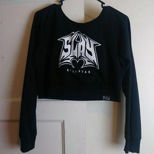 Killstar Slay Crop Top Sweatshirt Size XL